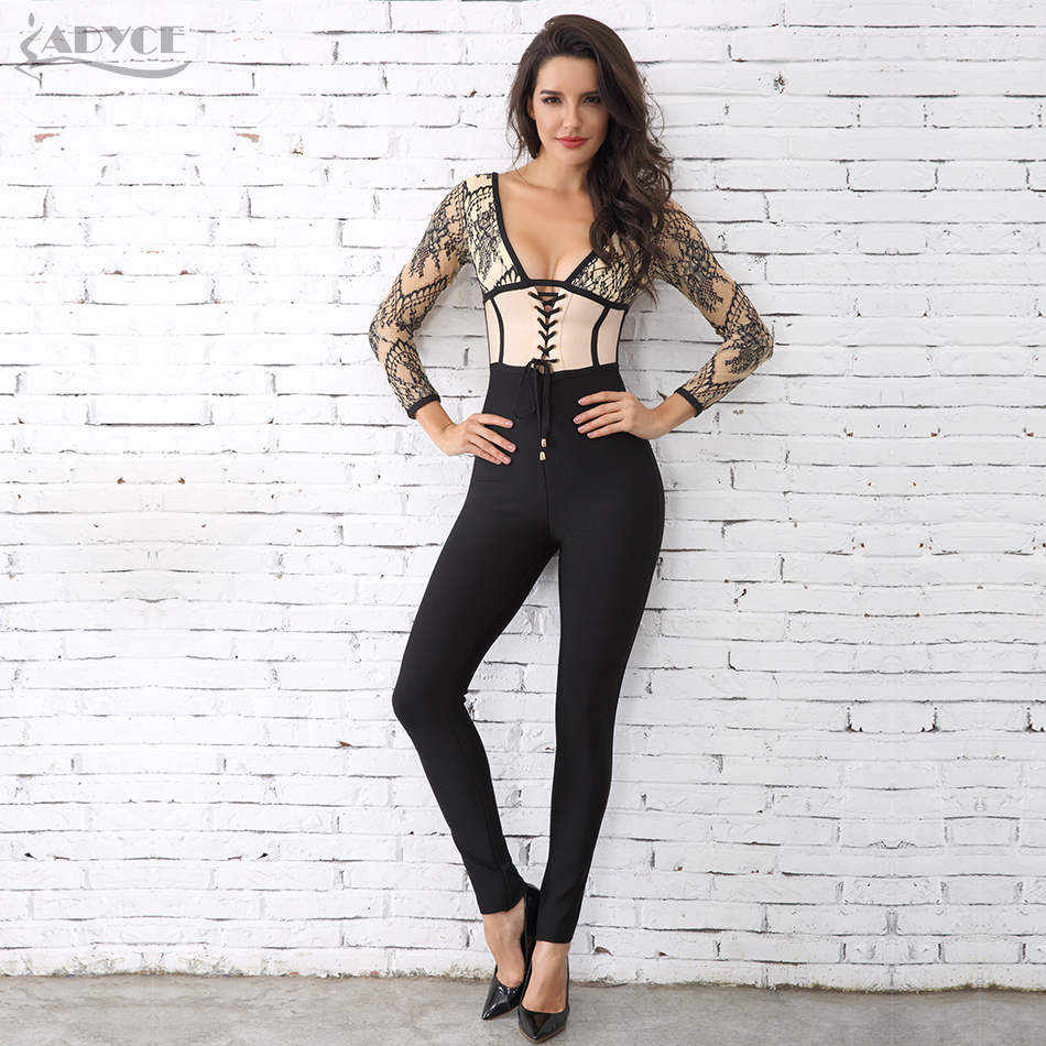 Adyce Sexy Lace Patchwork Party Long Jumpsuit H3396