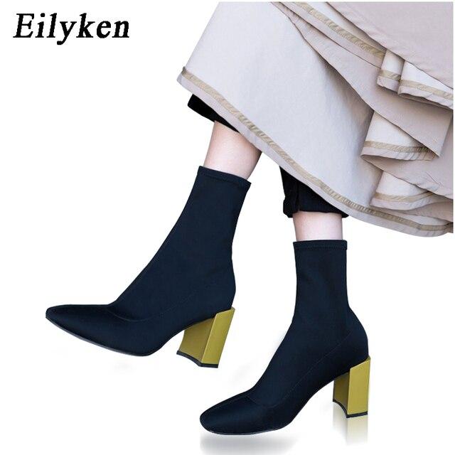 Eilyken Fashion Ankle Stretch Stoff Socken Stiefel Klobigen High Heels  Stretch Frauen Herbst Sexy Chelsea Stiefel 69eb225304