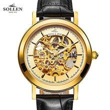 Роскошные SOLLEN золотые часы мужчины скелет кожа Автоматические механические Сапфировое стекло водонепроницаемые часы relogio masculino