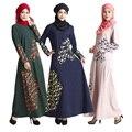 Malasia turquía Islámica Musulmán Del Abaya Del Vestido de Las Mujeres vestidos de Plumas de impresión fotos ropa jilbab burka Señora ropa turco