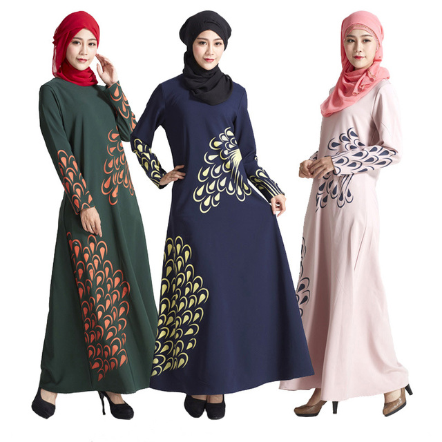 Aliexpress Com Buy Malaysia Muslim Dress Abaya Turkey Islamic Women Feather Print Dresses