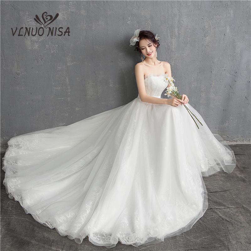 New Arrival Illusion Korean Style Tulle High/low Wedding Dresses 2020 Satrapless Lace Bridal Dress Marriage Customer Ribbons