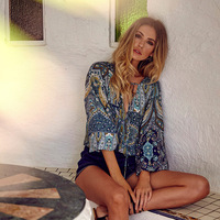 Fall Season Long Sleeve Print Shirts Australia Bohemian Women S Shirts Full Printing Fashion Holiday Blouses
