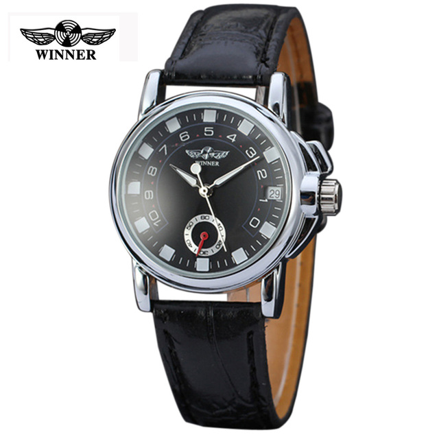 Mens Luxury Mechanical watch with date, Men new fashion white automatic Watches, self wind Leather black wristwatch Man
