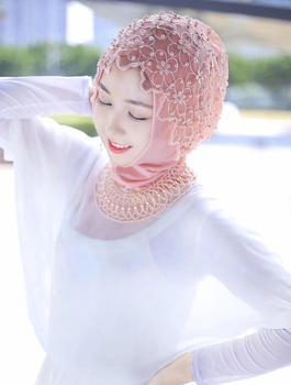 2018 جديد المسلمات التطريز التفاف وشاح عصابات الزهور لؤلؤة العمامة التجعيد وينكل الحجاب الشرق الأوسط رئيس التفاف الأزياء 2