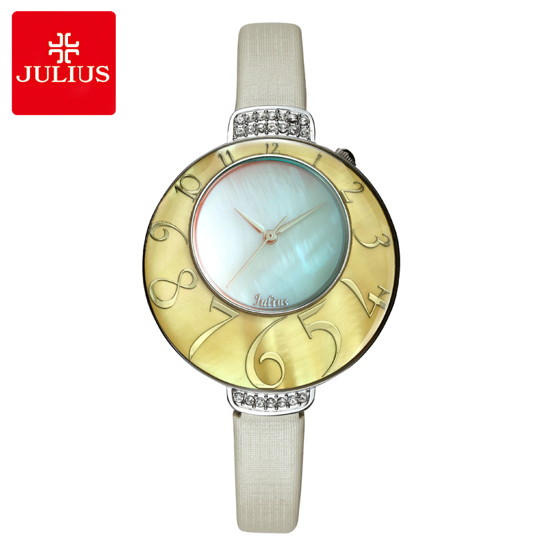 Julius Lady Women's Watch MIYOTA Quartz Mother-of-pearl Big Number Hours Fashion Clock Leather Bracelet Girl's Birthday Gift Box