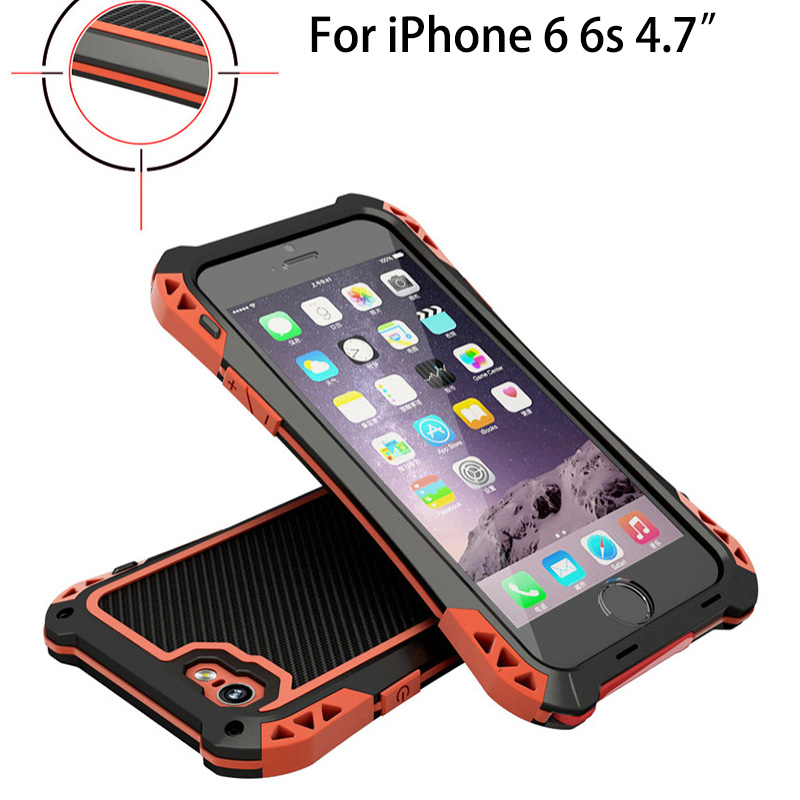 imágenes para Original R-Sólo Armor Case Para el iphone 6 Funda Impermeable Para el iphone 6 s De Aluminio a prueba de Choques Impermeable De fibra de Carbono caso