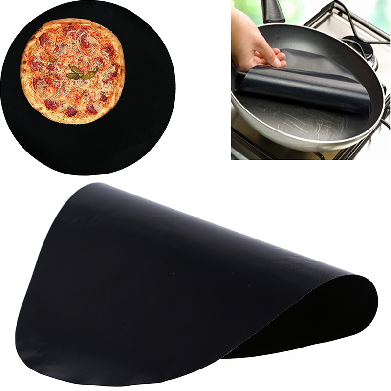 WHISM BBQ Round Grill Mat 40 x 40 cm Non-stick Reusable BBQ Grill Mats Sheet Grill Foil Barbecue Teflon Liner Cover Pad
