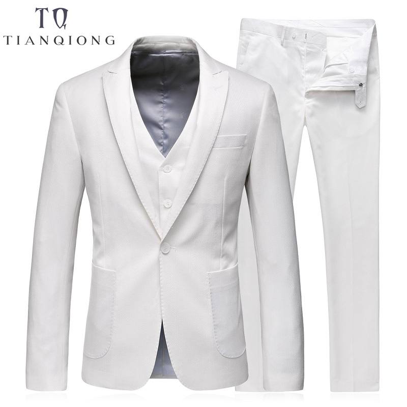 TIAN QIONG Men Wedding Suits 2018 White Suit Latest Coat Pant Designs Mens Stage Wear Costume Homme Mariage Brand Clothing