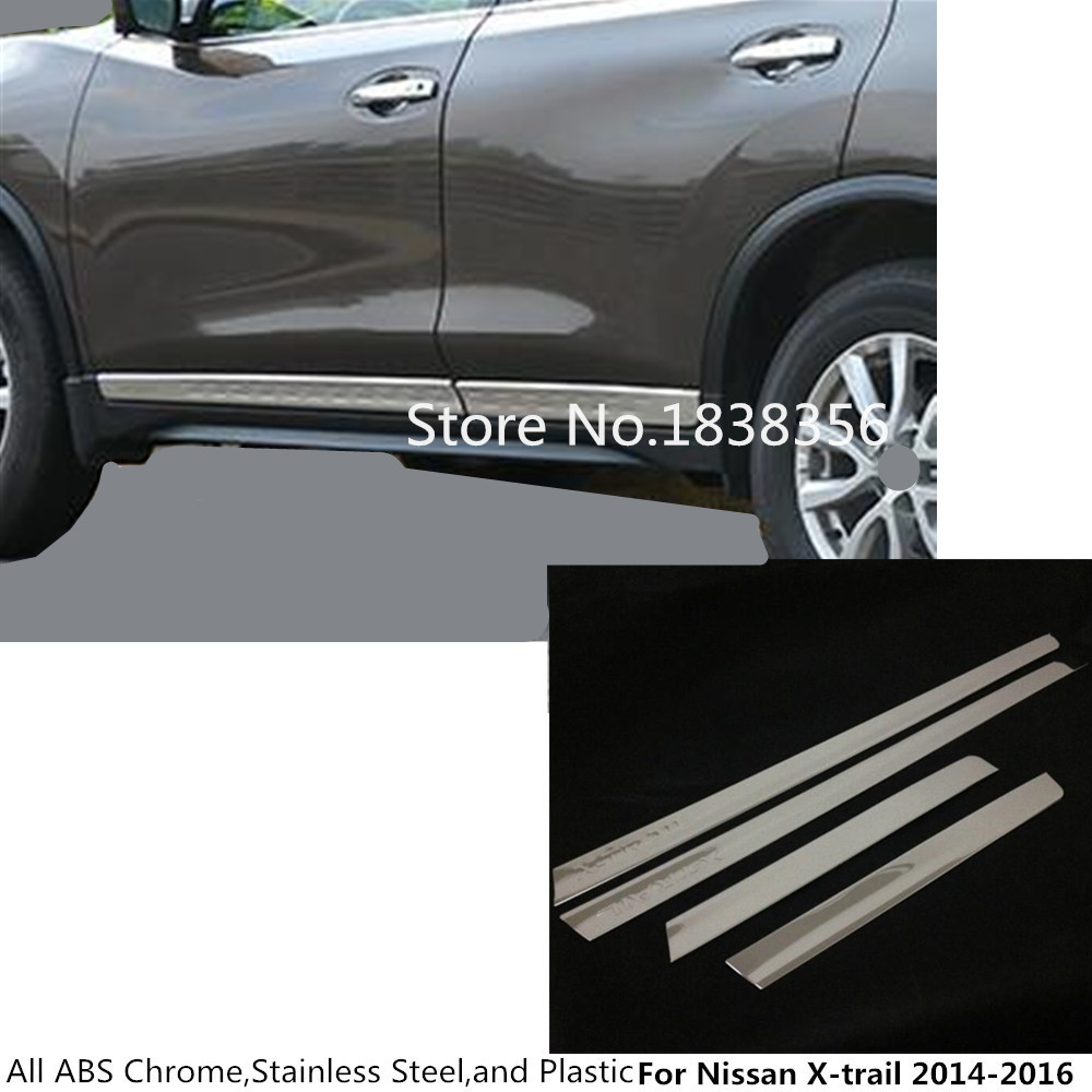 Top For Nissan X-trail xtrail T32/Rogue 2014 2015 2016 car detector stainless steel Side Door Body trim stick Strip Molding 4pcs car stainless steel abs chrome side door body trim stick strip molding stream lamp panel bumper for toyota rav4 2016 2017 2018