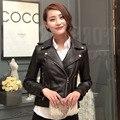 FREE SHIPPING 2017 New Women Fashion Black Genuine Leather Jacket Turn-down Collar Real Sheepskin Slim Fit Lady Popular Coat