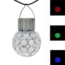 3pcs Waterproof Solar ball light Rotatable Outdoor Sun Fast Charing Camping Hanging Lights Stainless Stell+Plastic LED Bulb