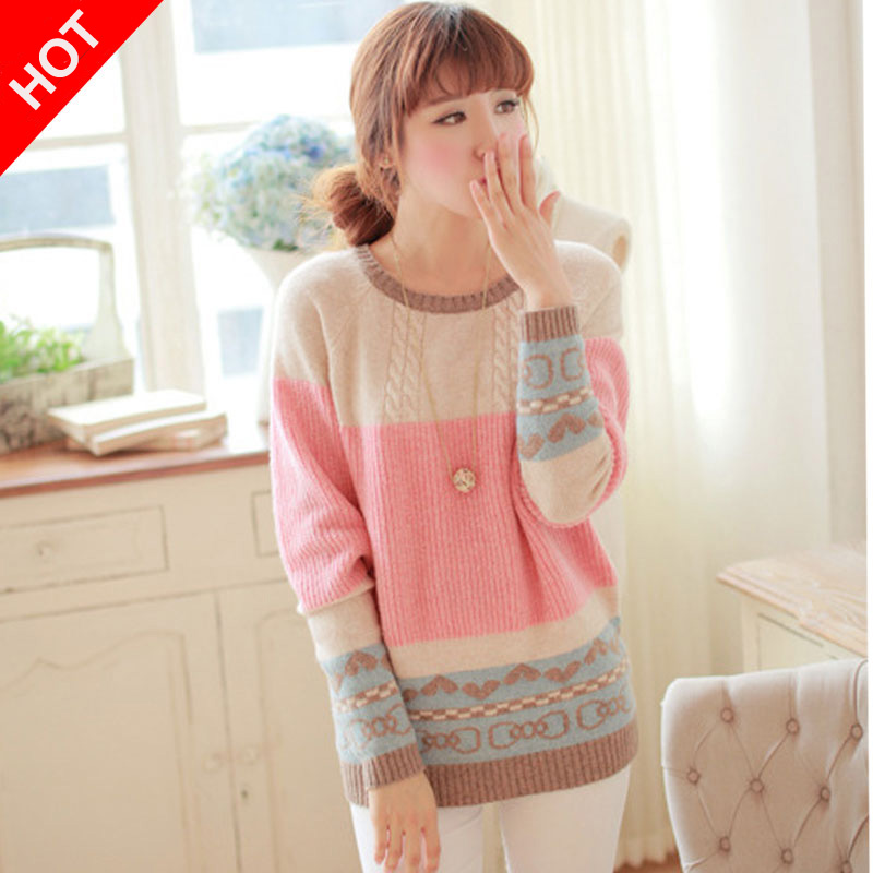 e5499a076071d6 2015 fashion Sweater Knitting Women Casual Pullovers Peach Heart Design  Stitching Loose Sweaters Cute Ladies Tops Free Size-in Pullovers from  Women s ...