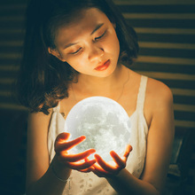 Moon Lamp 2 Colors LED 3d Print Light with Stand  Remote&Touch Control USB Rechargeable 8/10/12/15/18/20/22/24cm