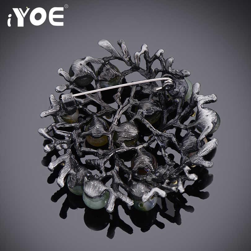 Iyoe Baru Multicolor Batu Alam Bros Pin untuk Wanita Trendi Silver Warna Bulat Pohon Bros Syal Perhiasan Aksesoris