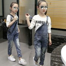 2018 Children's Clothing Ripped Jeans Baby Girl Leisure Denim Overalls