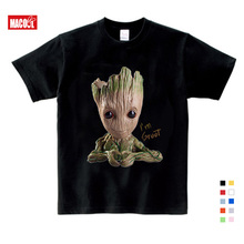 Children New Summer Casual White Tee Tops Clothes For Baby Groot Print Tshirt Boy Girls T-shirt Kids T Shirts Clothing 3T-9T