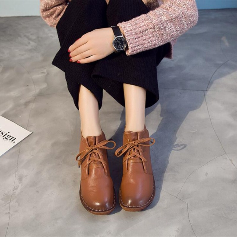 Casual leather women s booties large size 36 40 autumn winter hot models fashion retro mother