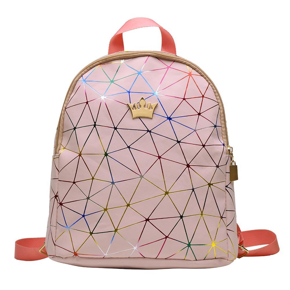 Teen Girls Fashion Geometric Print Crown Decor Travel Backpacks Women Solid Color Laser PU Leather Casual Knapsack Shoulder Bags