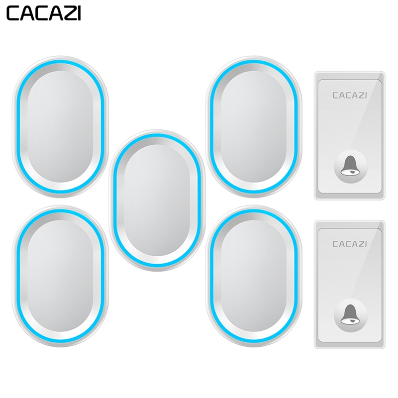 CACAZI Self-powered Wireless Doorbell Waterproof No Battery Required Home Call bell US EU UK Plug 58 Chimes 2 Button 5 ReceiversCACAZI Self-powered Wireless Doorbell Waterproof No Battery Required Home Call bell US EU UK Plug 58 Chimes 2 Button 5 Receivers