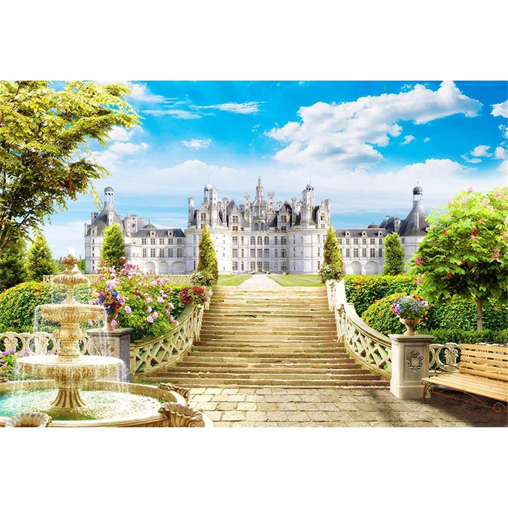 Fairy Tale World Photography Background White Palace Blue