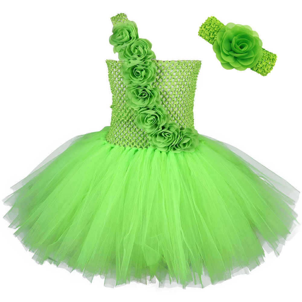 Green One Shoulder   Flower     Girl     Dress   Kid Christmas Carnival Party   Dresses   Toddler   Girls   Princess Knee Length Tutu   Dress   Vestido