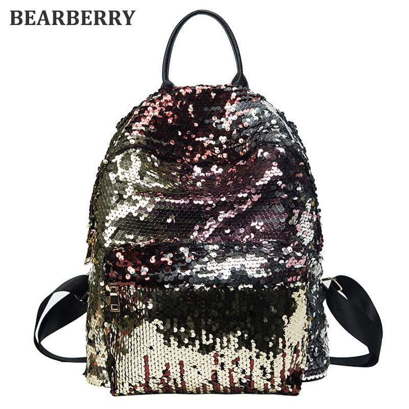 BEARBERRY 2017 Sequins Women leather Backpacks Bling large size Female Fashion Backpack Bag Girls School bags