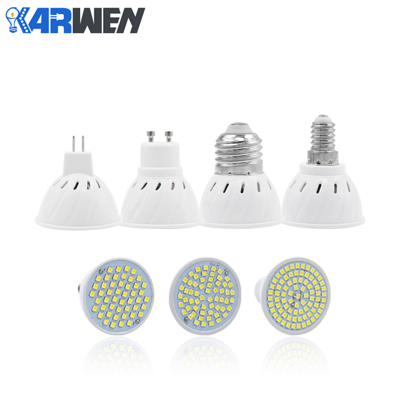 KARWEN Led Spotlight MR16 GU10 E14 E27 AC 220V led bulb lamp 48 60 80LEDs SMD 2835 5730 Cold Warm White jrled e27 12w 1000lm 3300k 60 smd 2835 led warm white horizontal lamp white silver ac 85 265v