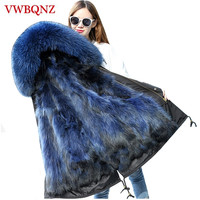 Large size Parkas Women Winter Fox Fur Hooded Jacket Fashion Brand Warm Loose Thicken Long Coats High grade Female Fur Coat 5XL