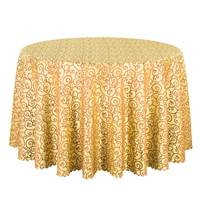 1PCS Top Quality Jacquard Gold Table Linen Square Decor Dining Table Cloth For Hotel Party Wedding