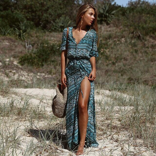 868117b6 US $18.98 |Kobiety lato na co dzień artystyczny plaża luźna sukienka  etniczne wzory druku Boho bluzka sukienka 3/4 rękaw hipis Vestidos w  Kobiety ...
