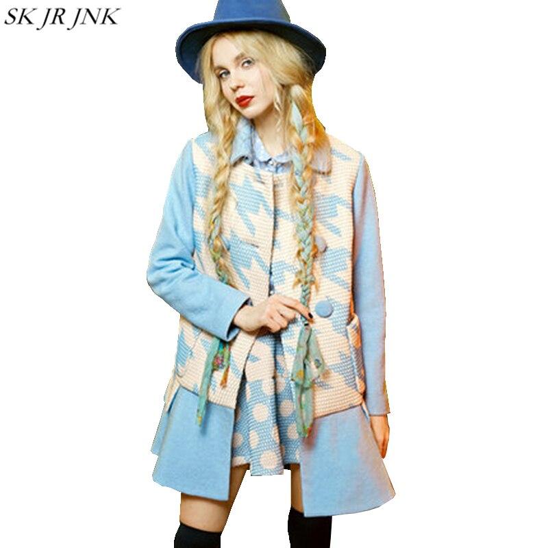 Gjl14 Blue Manteau Mode D'hiver Spliced Cachemire Trench Long Laine En Veste red Outwear Femme Mélangée Femmes 2017 Blazer Chaud De nqTXU75