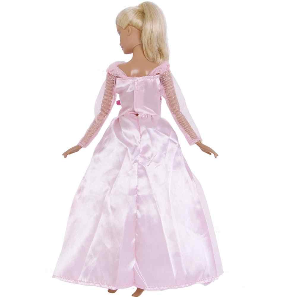 ורוד אופנה גברת שמלת מסיבת חתונת נסיכת ארוך שמלת ורוד תחרה חצאית אלגנטי Bowknot בגדים עבור ברבי בובת בובות צעצוע