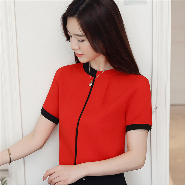 2018 summer chiffon women blouse shirt short sleeve elegant ladies office women tops casual slim white women clothing 0215 40 2