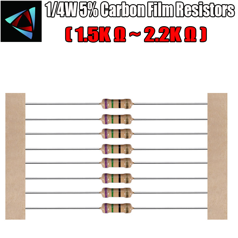 100pcs 1/4W 5% Carbon Film Resistor 1.5K 1.6K 1.8K 1K 2.2K Ohm
