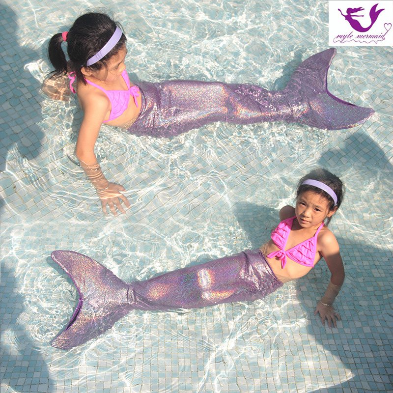 2018 New Christmas gifts for girl Swimmable Mermaid Tail W Monofin Sparkle mermaid tail Swimsuit Top 100% Spen Kids Best Quality