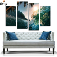 free shipping mediterranean sea blue moon wave scenery oil painting canvas prints printed on canvas wall art decoration pictures