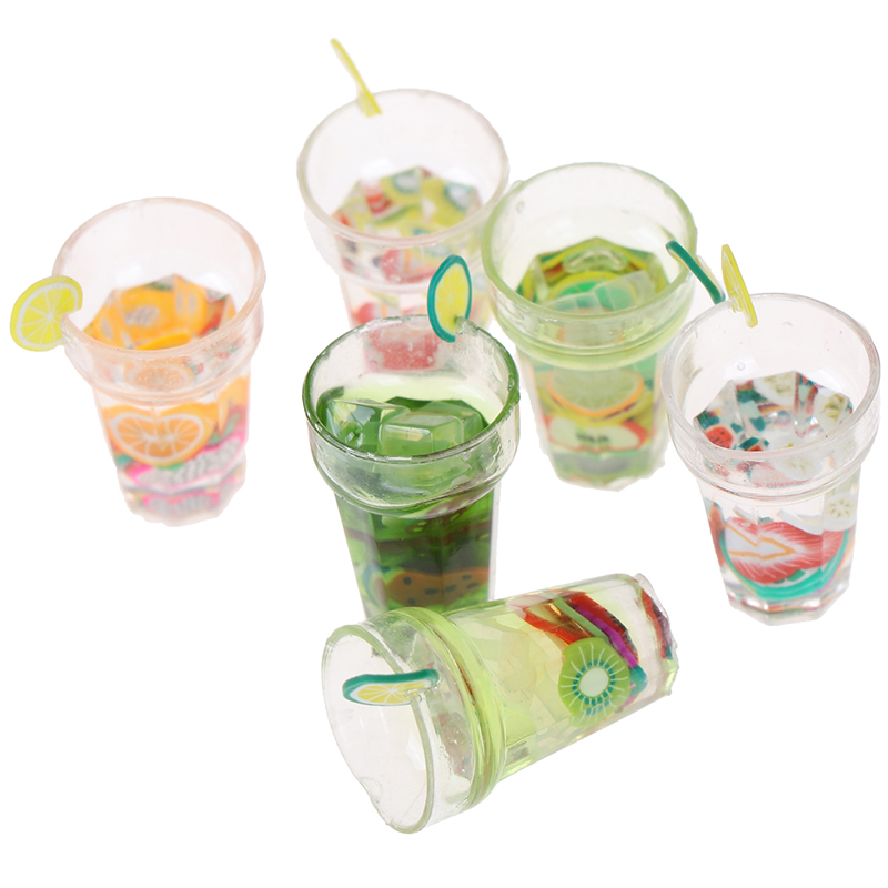 Cute Dollhouse Miniature Food Drink Fruit Drink Cups Set Drinks Model Pretend Play Mini Food Fit Play House Toy Doll Accessories