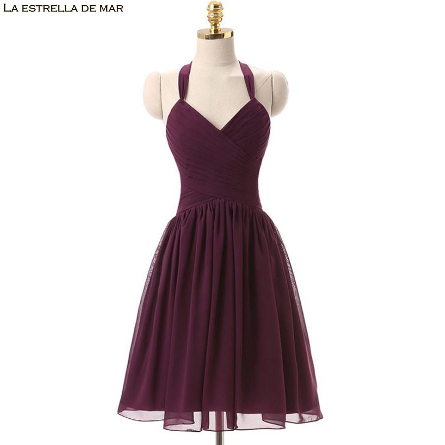 Vestido de noiva simples 2019 new sexy V neck a Line Burgundy   bridesmaid     dress   short real photo wedding guest   dress