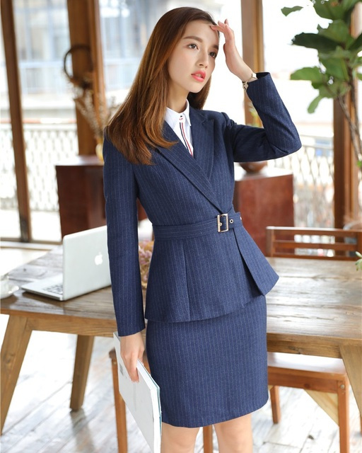 fb6e88942eb0 New Style 2018 Formal Office Uniform Designs Women Business Suits Skirt and  Jacket Sets Ladies Blue Blazer