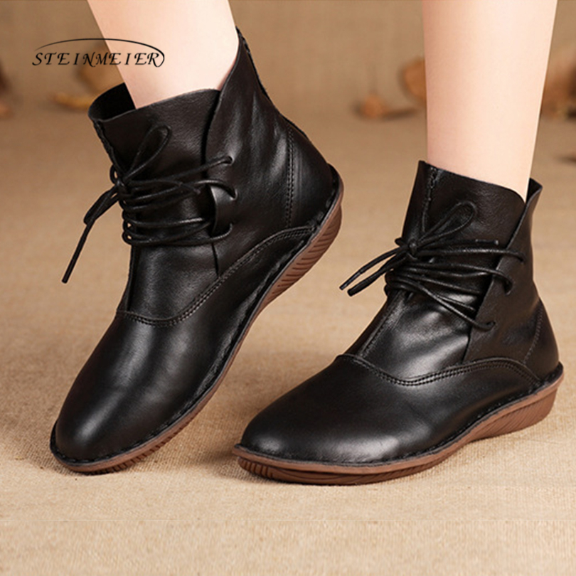 Women Boots Genuine Leather Shoes Brown Black Flat brand quality Ankle Boots Round toe lace up Spring Autumn handmade Shoes 2017 new heavy bottomed genuine leather women boots black brown solid boots women shoes thick with round lace ankle boots zk2 5