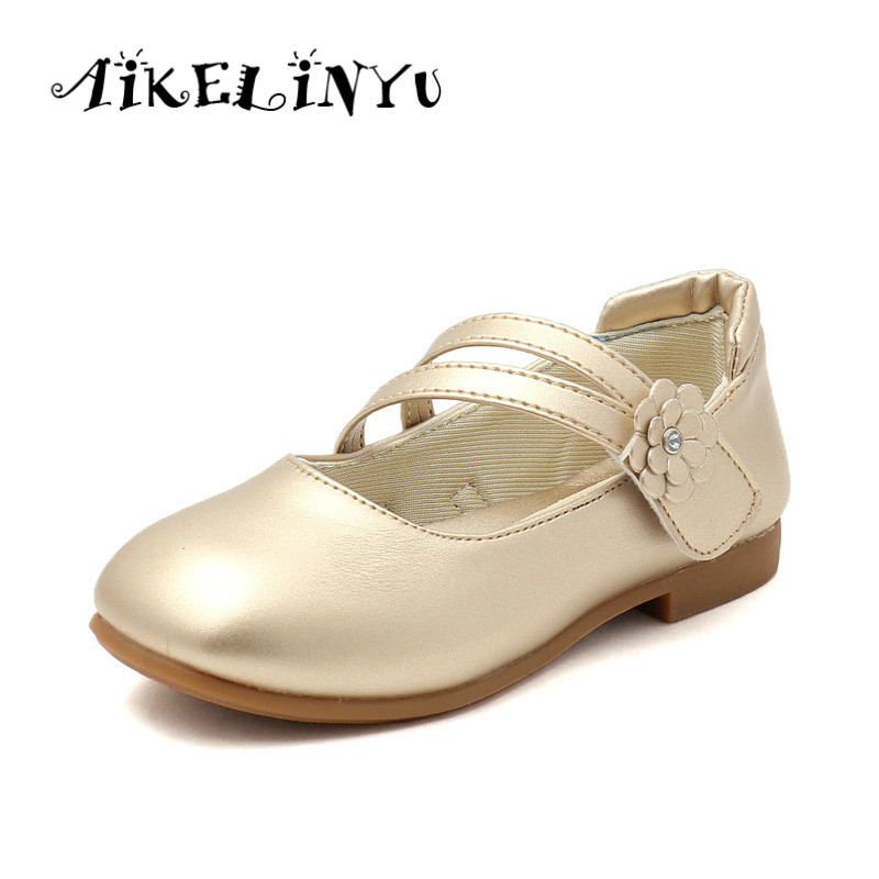 Children Golden Shoes 2019 Autumn Girl Pink Princess Leather Shoes Girls Party Wedding Shoes black Kids Flat Single Shoes white