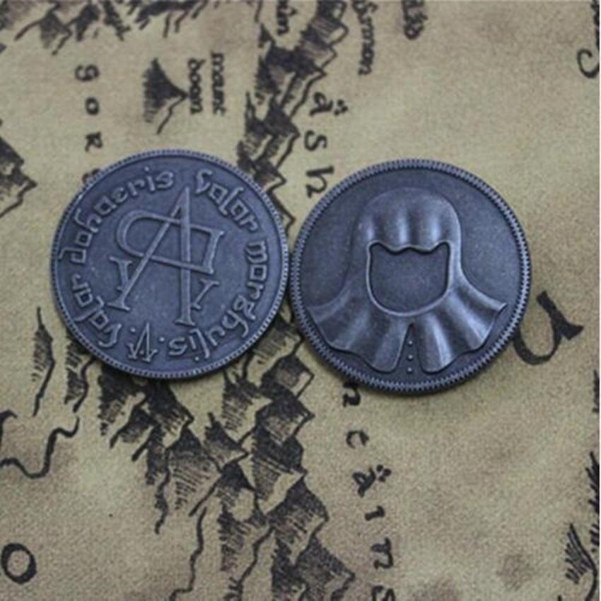 ליל כל הקדושים שיר של קרח ואש משחק של הכס חסר פנים Valar morghulis מטבע Jaqen H'ghar Aaliyah תג 1:1 חג המולד מתנה