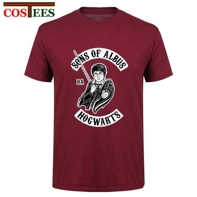 72564d369 Camisa engraçada de T homens FILHOS DE ALVO DA HOGWARTS t-shirt ocasional  topos de
