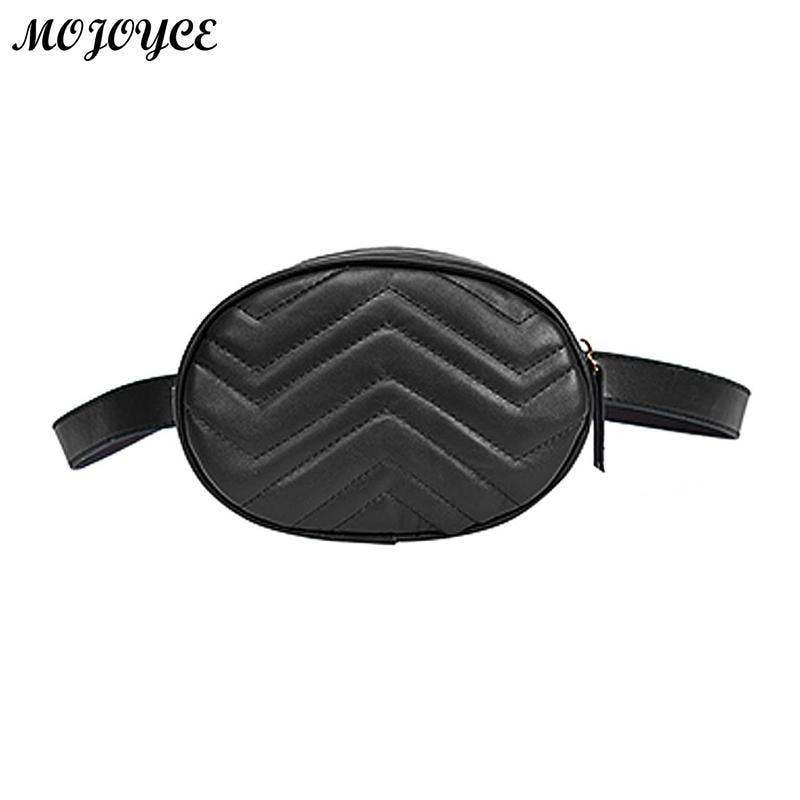 Women PU Leather Waist Bag Fanny Small Female Belt Packs New Oval Shoulder Bag Luxury Trendy Girls Zipper Waist Pack Purse Bolso