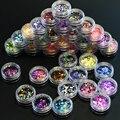 35 botella Del Arte Del Clavo Redondo Establece Moda Delgado Mini 1-3mm Paillette Glitter Uñas Consejos Brillante Etiqueta Engomada Del Arte de DIY Colores Mezclados P1-35