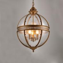heavy wind american vintage wrought iron glass lamp bar restaurant art creative gilded bronze pendant light