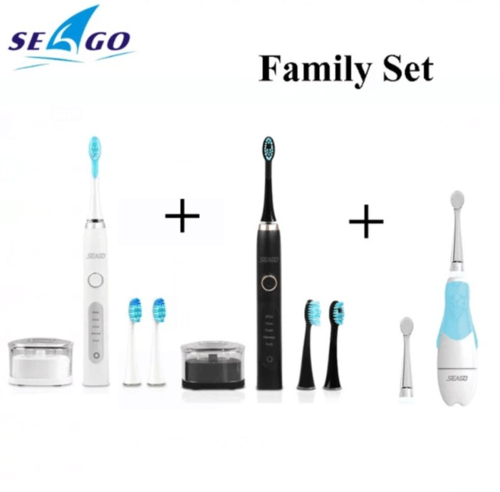 SEAGO Sonic Electric Toothbrush Family Rechargeable Smart Timer SG986 and Kids Battery Toothbrush LED Light teeth brush SG513