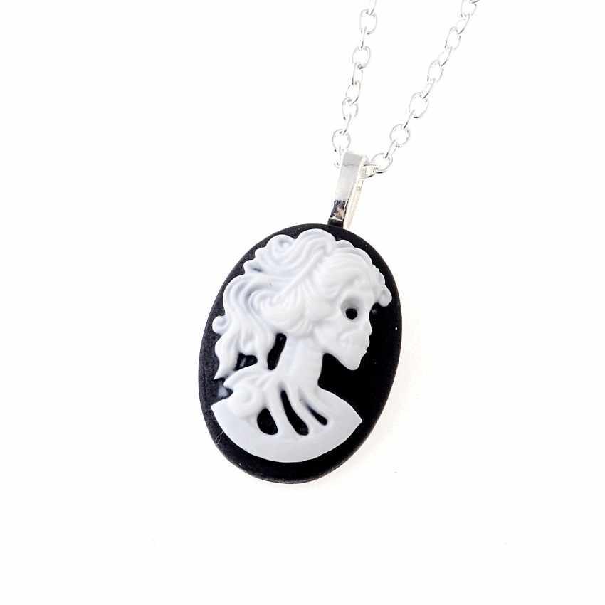 Бесплатная доставка 3 нити NKY большая камея с изображением скелета 18 дюймов ожерелье готический Эмо Панк Череп Темный Винтаж стимпанк