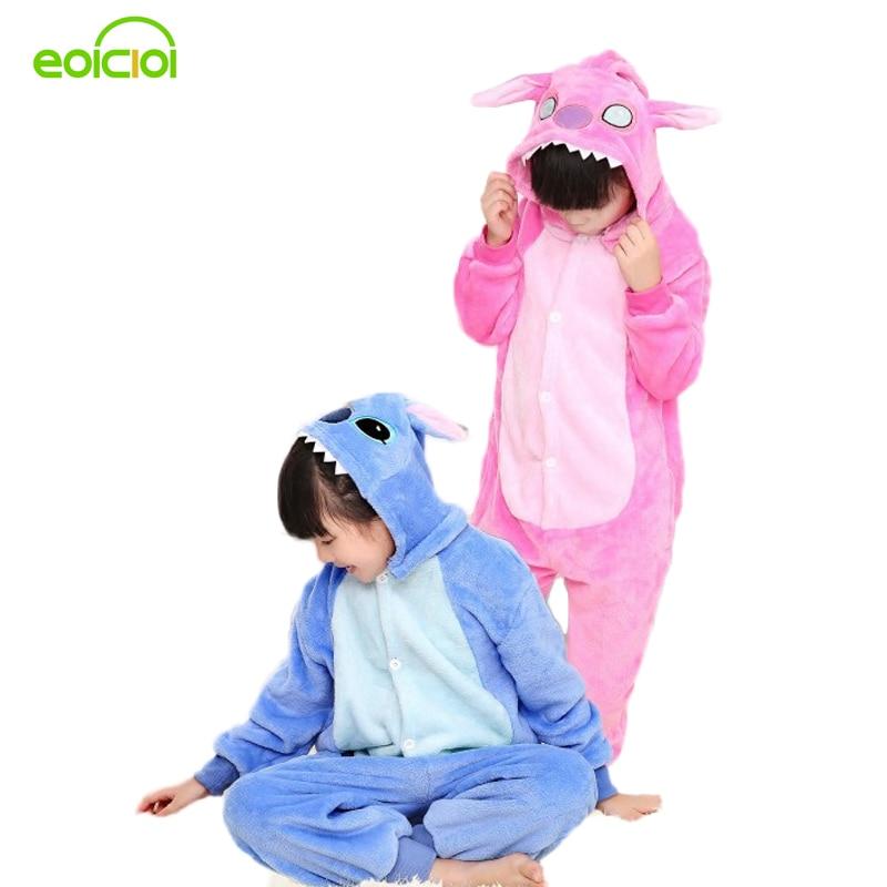 Stitch pajamas for kids totoro cat girls boys christmas pajamas set warm animal onesie children s